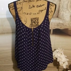 Express Nautical Navy BlueTank with anchors Size M